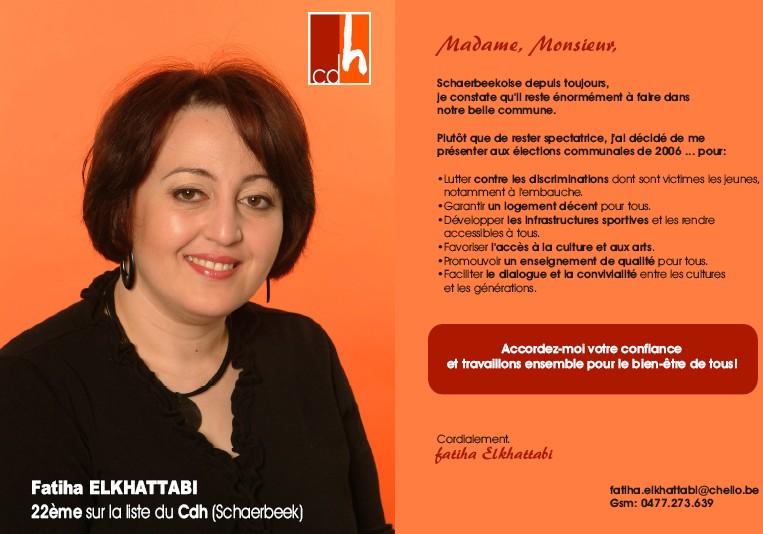 Fatiha Elkhattabi : 22 ième Candidate sur la liste du Cdh